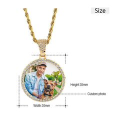 Circular 18K Gold Plated Personalized Photo Pendant Necklace