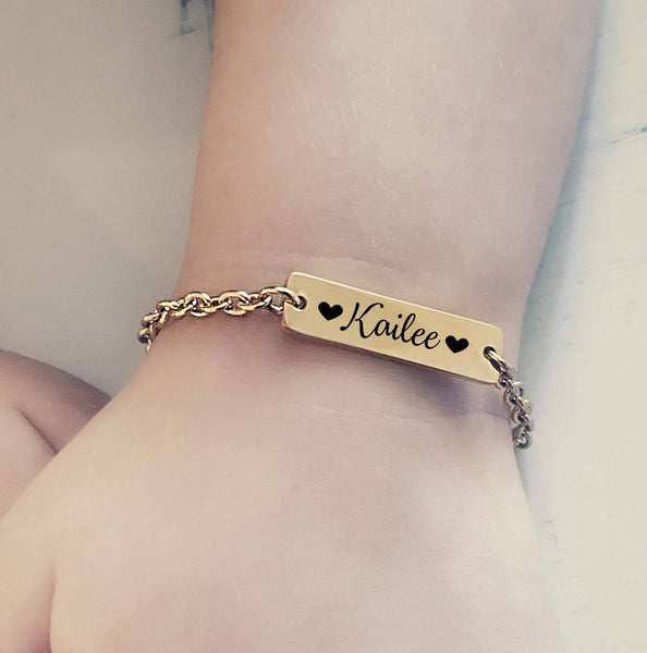 18K Gold Plated Personalized Engraved Name Bar Bracelet - Silviax