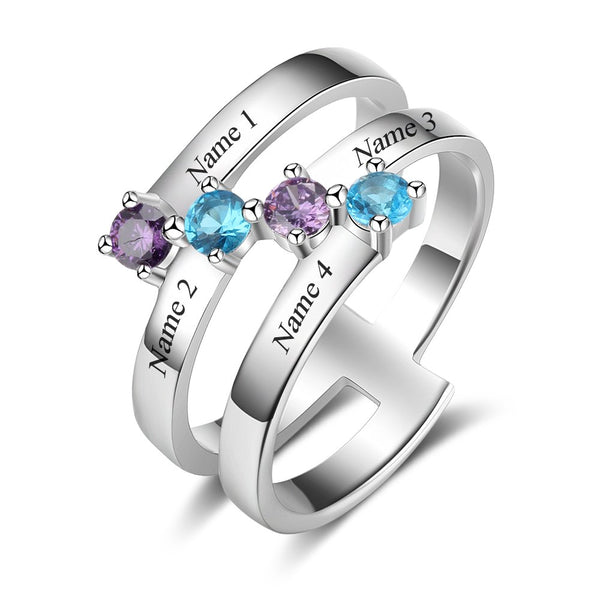 Personalized Custom Name Ring with 4 Birthstones Family Ring