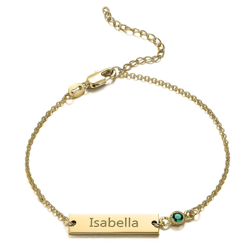 18K Gold Plated Personalized Birthstone Bar Bracelet