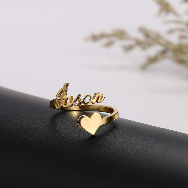 Personalized  Heart Nameplate Ring 925 Sterling Silver