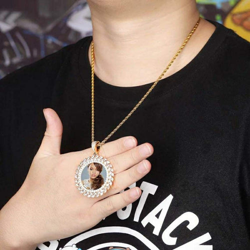 Custom Personalized Round Pendant Hip Hop Photo Necklace Gold Plated