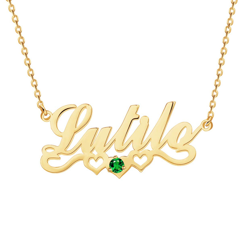 Personalized 18K Gold Plated Name Necklace Birthday stone