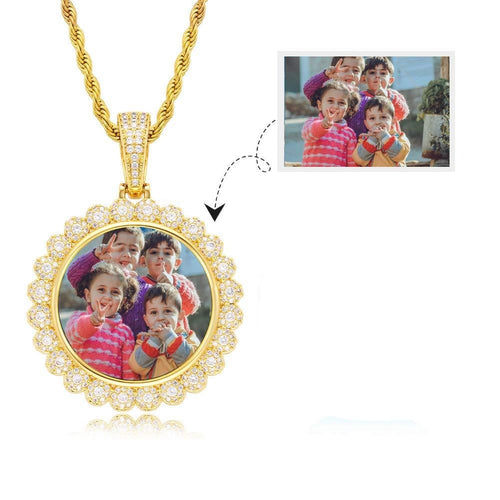 18K Gold Plated Round Pendant Custom Hip Hop Photo Necklace