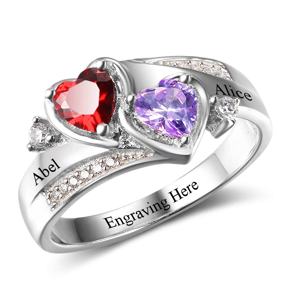 2 Heart Birthstones Personalized Name Promise Ring