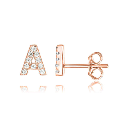 Letter Earrings Personalized 18K Rose Gold Plated