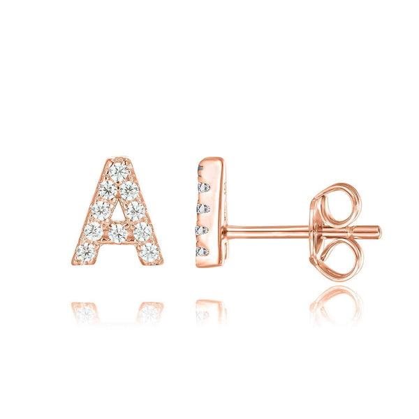 Letter Earrings Personalized Rose Gold Plated