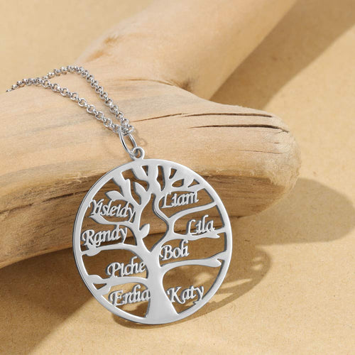 Tree of Life With 1-8 Names Personalize Custom Mom Family Necklace