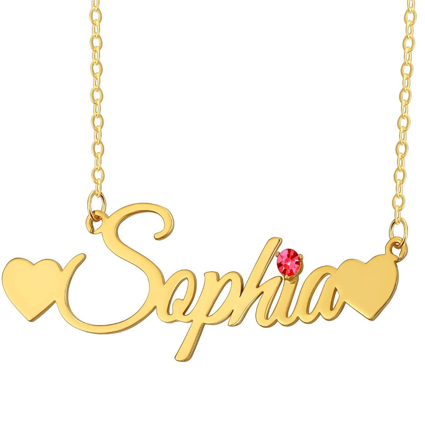18K Gold Plated Personalized Double Heart Name with Birthstone Necklace