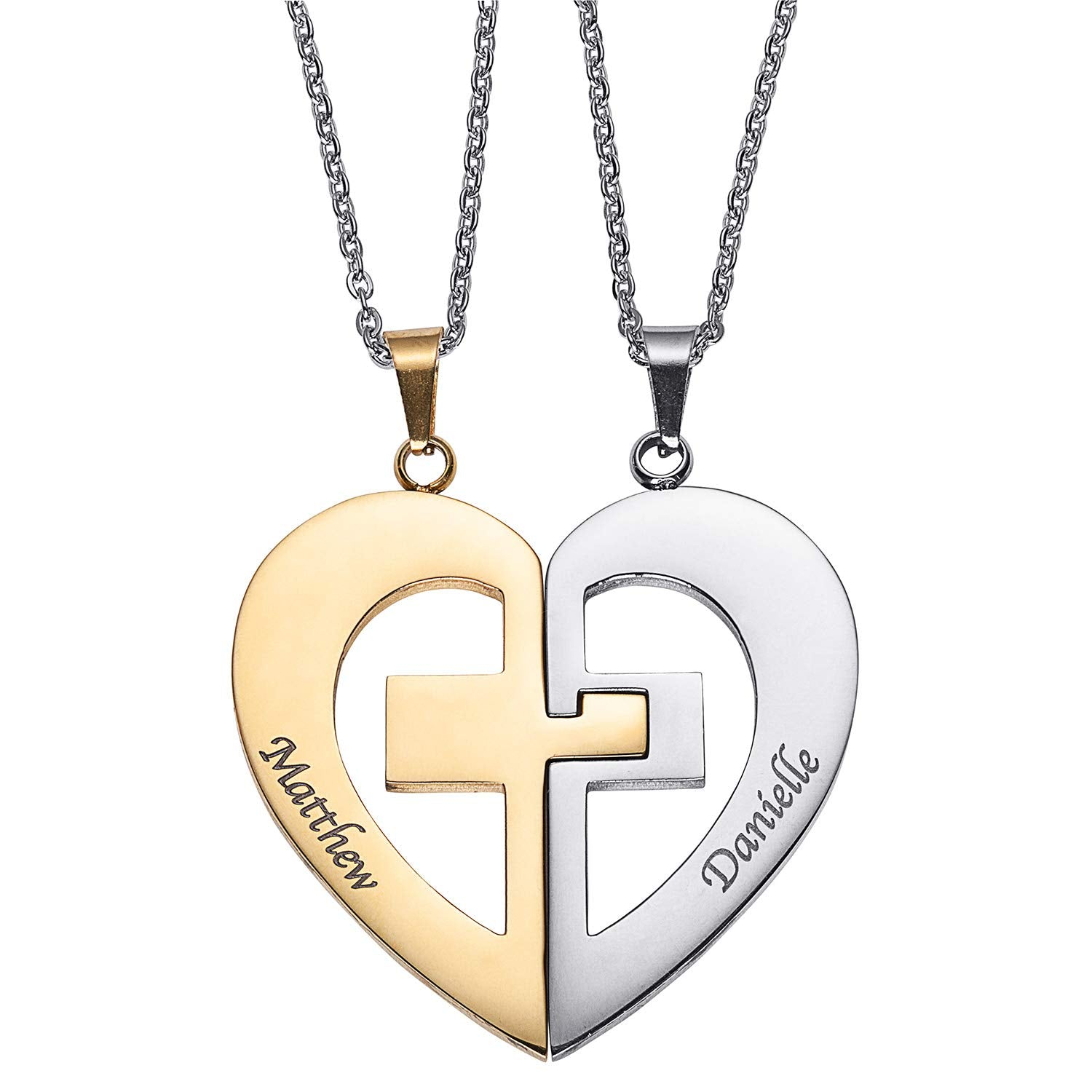Couple Name Necklace 2 Half Heart Pendant