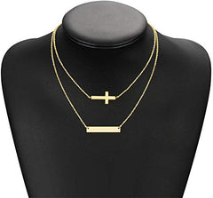 18K Gold Plated Engraved Name Bar Necklace - Silviax