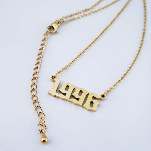 18K Gold Plated Personalized Birth Year Number Necklace - Silviax