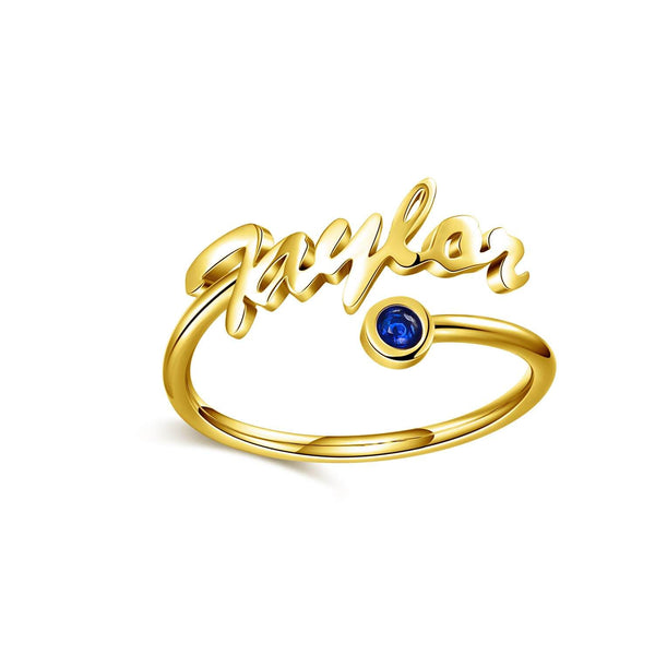 18K Gold Plated Personalized Name Ring with Birthstone For Love