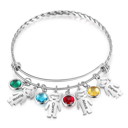 2 to 5 Childs with Birthstone Personalized Custom Charm Name Bracelet