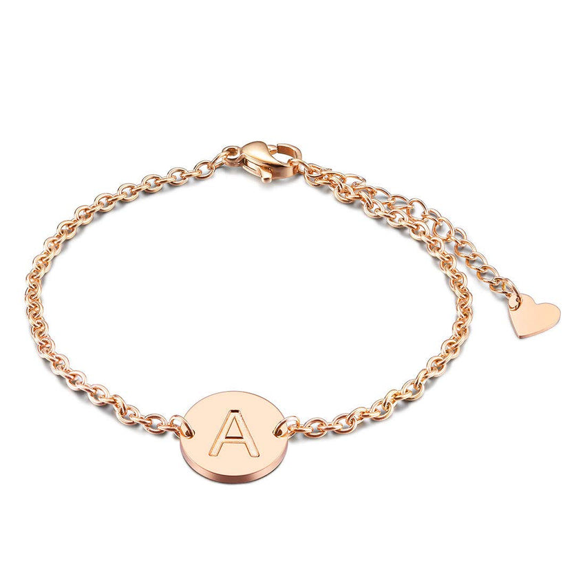 18K Gold Plated Personalized Engraved Initial Anklet