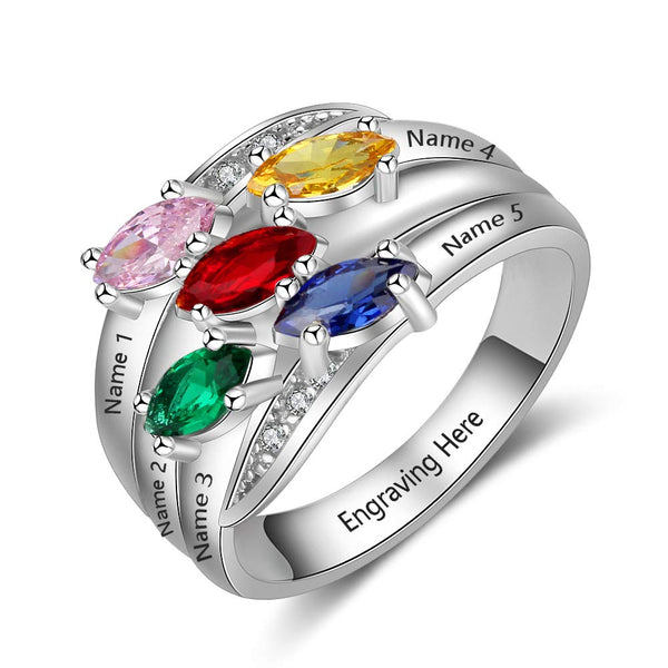 5 Birthstones  Engraved 5 Names Family Ring Custom