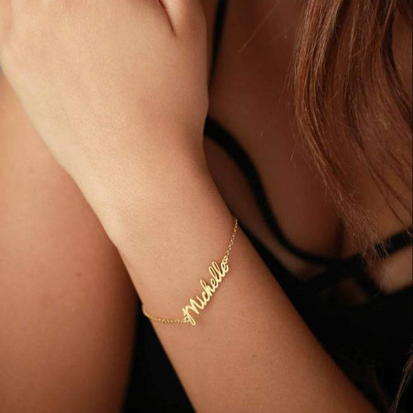 18K Gold Plated Personalized Name Bracelet For Women - Silviax