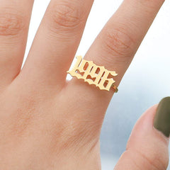 18K Gold Plated Personalized Custom Memorial Year Ring - Silviax
