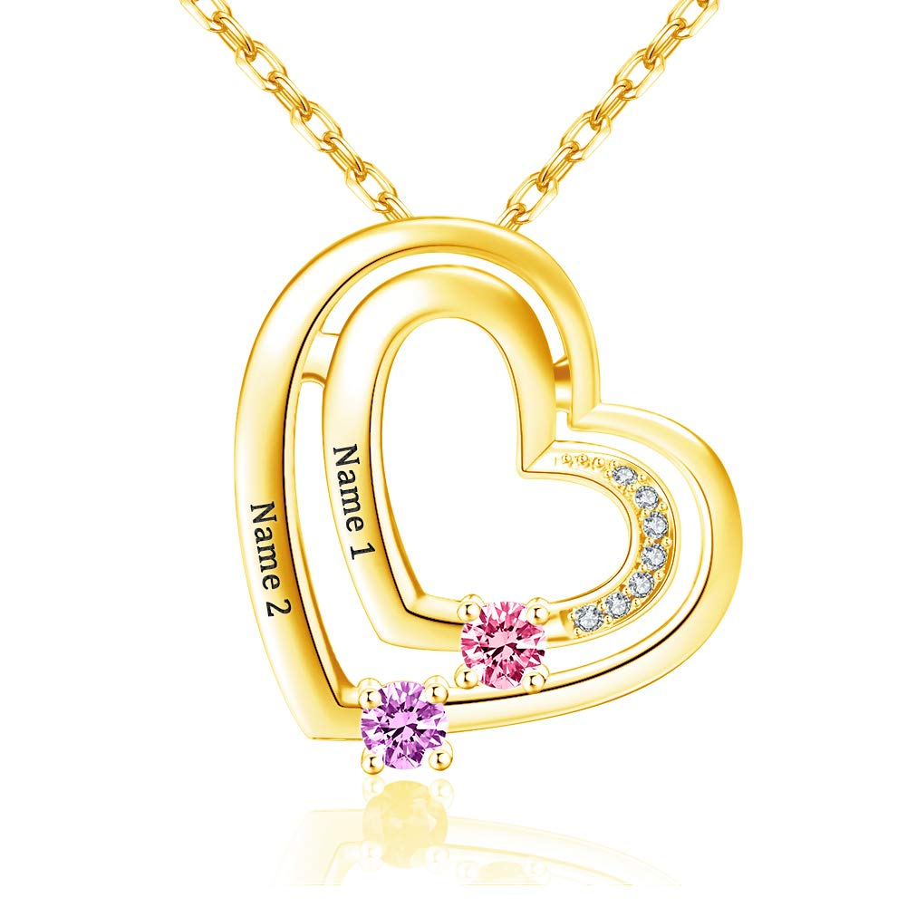 Personalized Double Love Heart Birthstones Two Name Necklace