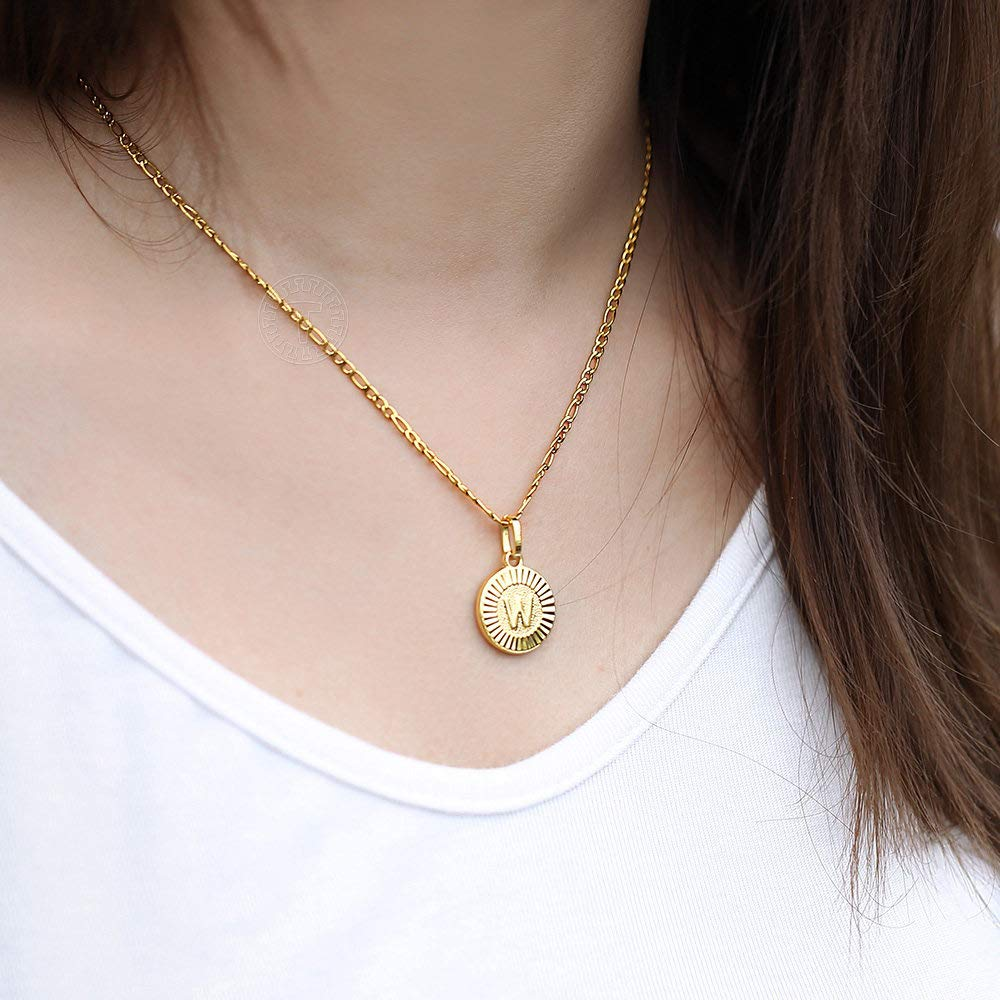 18K Gold Plated Round Letter Initial Pendant Necklace