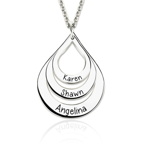 Drop 3 Names Gold Plated Personalized Family Necklace