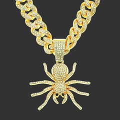 Hip Hop Iced Out Cuban Chain Spider Pendant Necklace Gold Plated Necklaces Jewelry Gift for Men