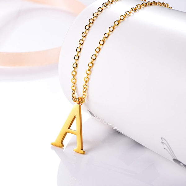 18k Gold Plated Initial Letter Trendy Necklace