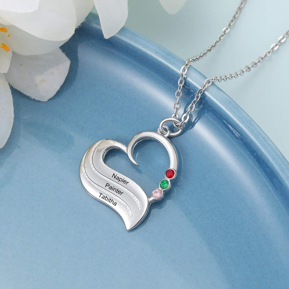 Personalized Engraved Name with 3 Birthstones Heart Necklace