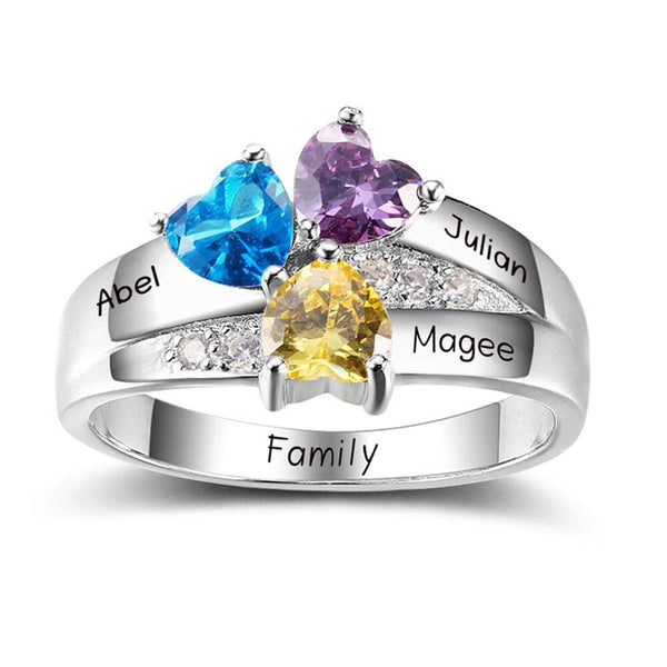 Personalized Heart Birthstone Mother Ring With 3 Names