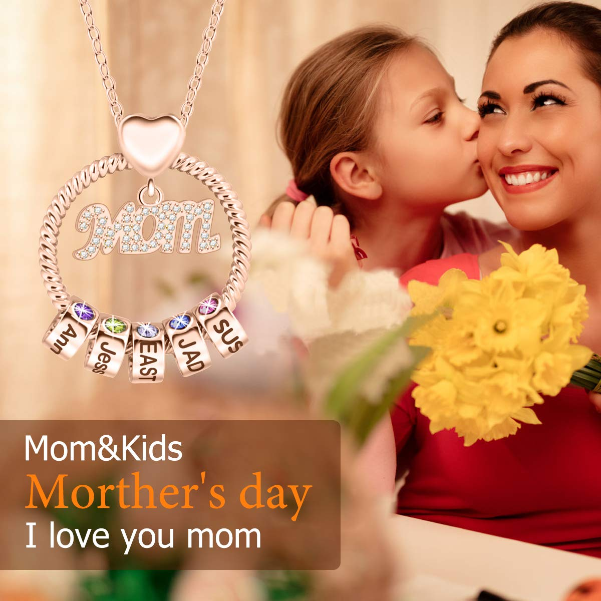 Mom 1-5 Name Beads and Birthstones Personalized Custom Family Necklace Jewelry Mother's Day Gift for Women Mom