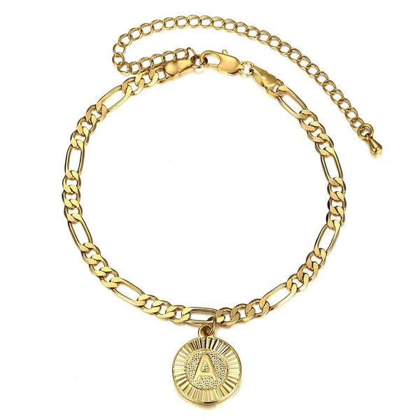 Round Letter 18k Gold Plated Initial Anklet