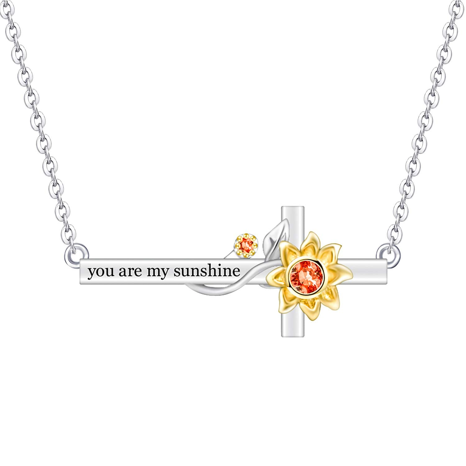 Cross Sunflower Necklace 925 Sterling Silver for Girls Mom Wife Girlfriend