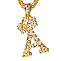 18k Gold Plated Inlay Crystal Crown Letter Initial Necklace