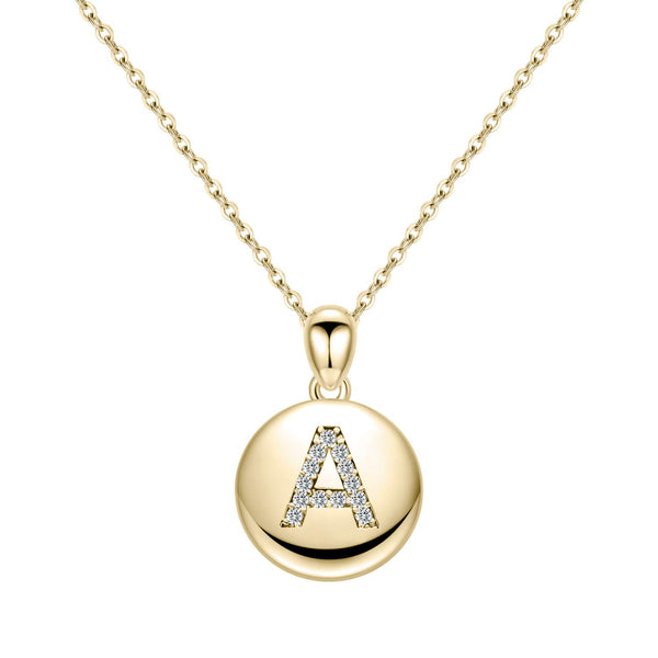 18k Gold Plated Letter Initial Round Disc Pendant Necklace
