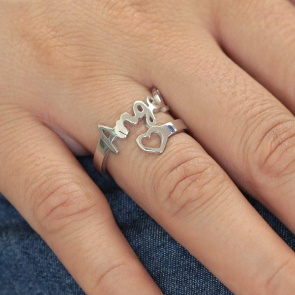925 Sterling Silver Custom Name Ring with Heart