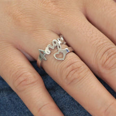 925 Sterling Silver Custom Name Ring with Heart - Silviax