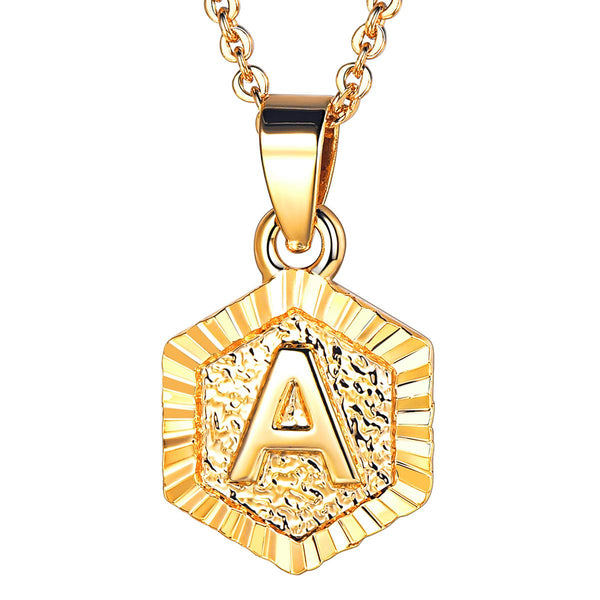 18K Gold Plated Hexagon Initial Letter Pendant Necklace