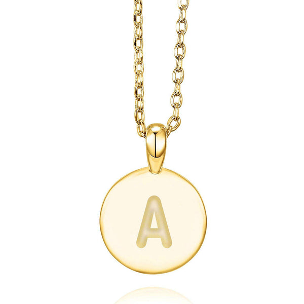 18k Gold Plated Letter Initial Round Pendant Necklace