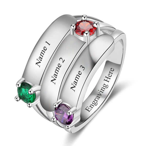 3 Birthstone Personalized Mom Ring Engraved 3 Names