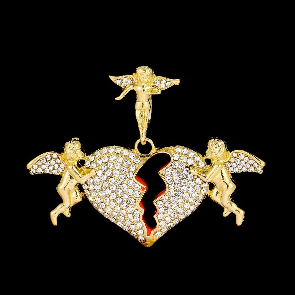 Bling Broken Heart Pendant Necklacce Tennis Chains Gold Plated