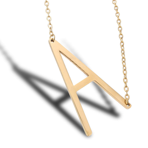 Large Big Letters Pendant 18k Gold Plated Initial Necklace