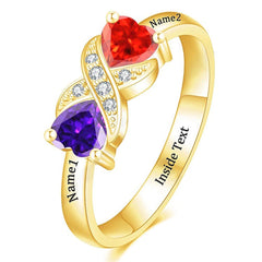 Couples Unique Heart Birthstones Personalized Name Ring