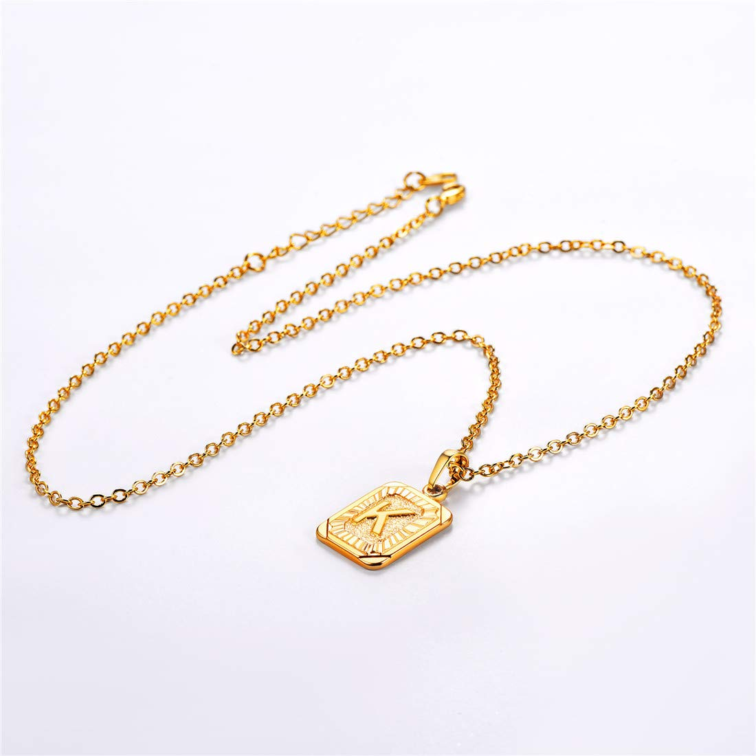 18K Gold Plated Initial Letter Pendant Necklace
