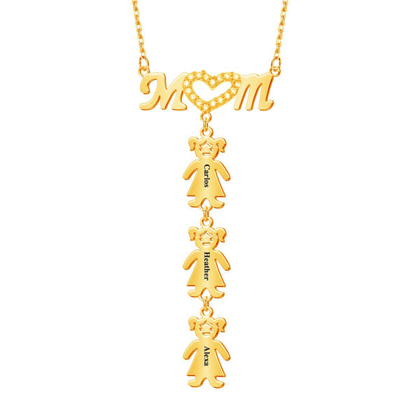 18K Gold Plated Personalized Children's Name Mother Family Necklace
