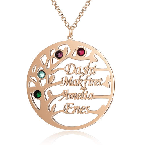 Tree of Life 2-4 Names with Birthstones Personalize Custom Mothers Family Necklace