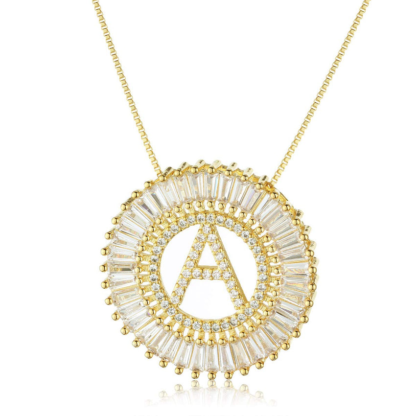 18k Gold Plated Circular Zircon Initial Letter Necklace