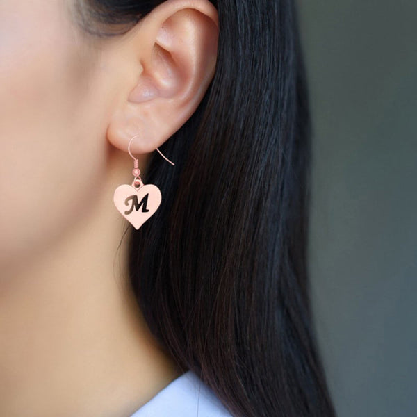 18K Rose gold  Plated Heart Letter Earrings - Silviax