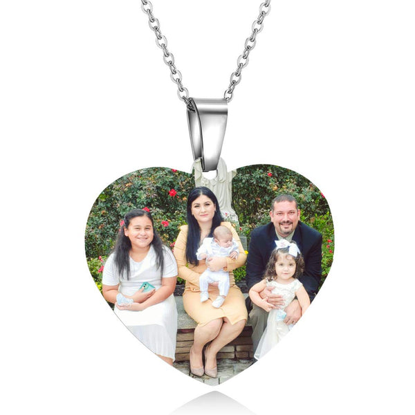 Photo Text Heart White Gold Personalized Custom Necklace