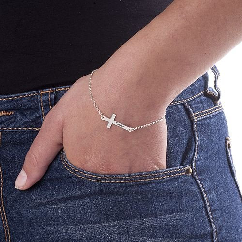 Personalized Sterling Silver Side Cross Bracelet