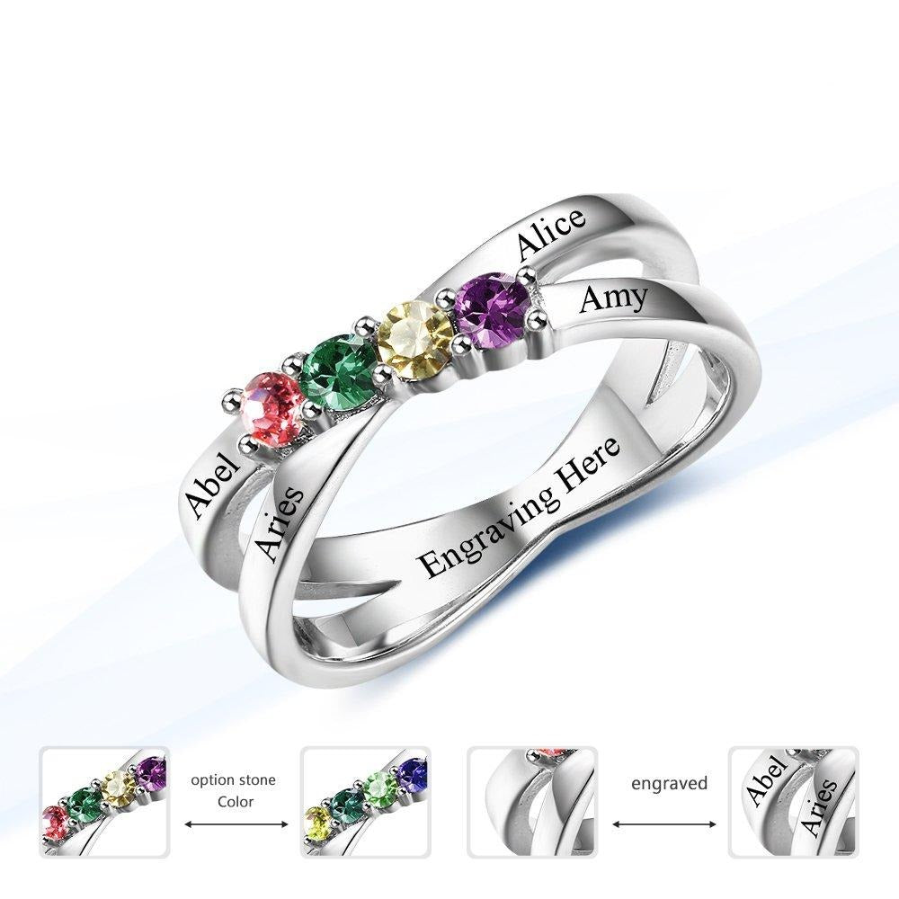 Custom with 4 Birthstones Personalized Promise Ring 4 Names